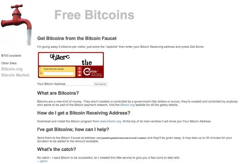 Original Bitcoin Faucet