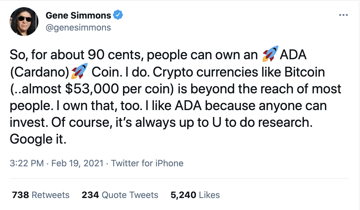 Crypto Unit Bias Gene Simmons Cardano Tweet